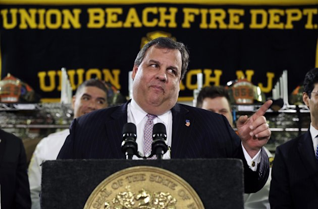 New Jersey Gov. Chris Christie feigns a stern look Tuesday, Feb. 5, 2013, in Union Beach, N.J., after his was playfully asked about his weight. Christie has termed his plumpness &quot;fair game&quot; for comedians. And during his first appearance on &quot;Late Show with David Letterman&quot; on Monday, the outspoken Republican and potential 2016 presidential contender read two of Letterman&#39;s jokes that he said were &quot;some of my personal favorites.&quot; (AP Photo/Mel Evans)