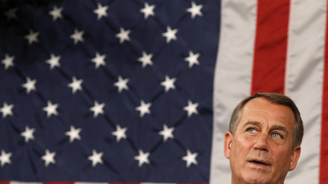 House Speaker John Boehner of Ohio, waits for President Barack Obama to deliver a speech to a joint session of Congress at the Capitol in Washington, Thursday, Sept. 8, 2011.   (AP Photo/Kevin Lamarque, POOL)