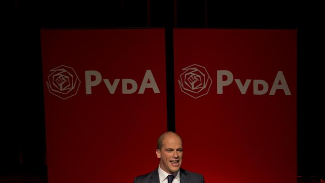 Labor Party Diederik Samsom address supporters after exit poll results of the parliamentary elections were announced in Amsterdam, Netherlands, Wednesday Sept. 12, 2012. An exit poll commissioned by the two biggest Dutch news broadcasters has predicted a narrow election victory for the Prime Minister Mark Rutte's free-market VVD party. The exit poll, which will be updated with late votes, gave the VVD 41 of the House of Representatives' 150 seats and the center-left Labor Party 40 votes. The poll has a 1.5 percent margin of error, and the broadcasters said the final result was still too close to call. (AP Photo/Peter Dejong)