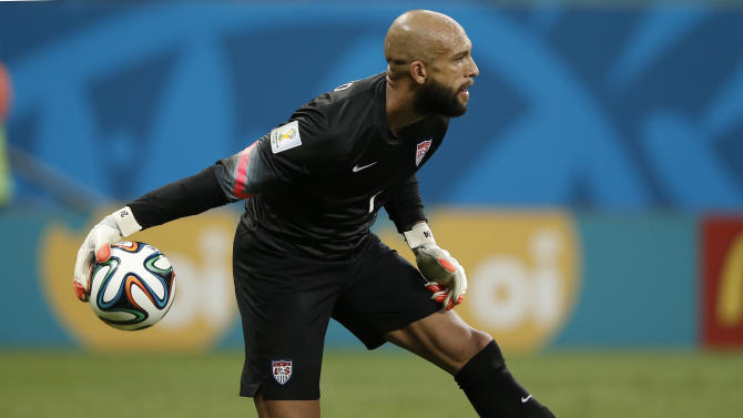 US goalkeeper Tim Howard rolls the ball out during extra-time in the Round of 16 football match between Belgium and USA at The Fonte Nova Arena in Salvador on July 1, 2014, during the 2014 FIFA World Cup