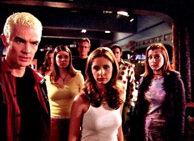 James Marsters, Emma Caulfield, Amber Benson, Anthony Stewart Head, Sarah Michelle Gellar, Nicholas Brendon and Alyson Hannigan of Buffy The Vampire Slayer 