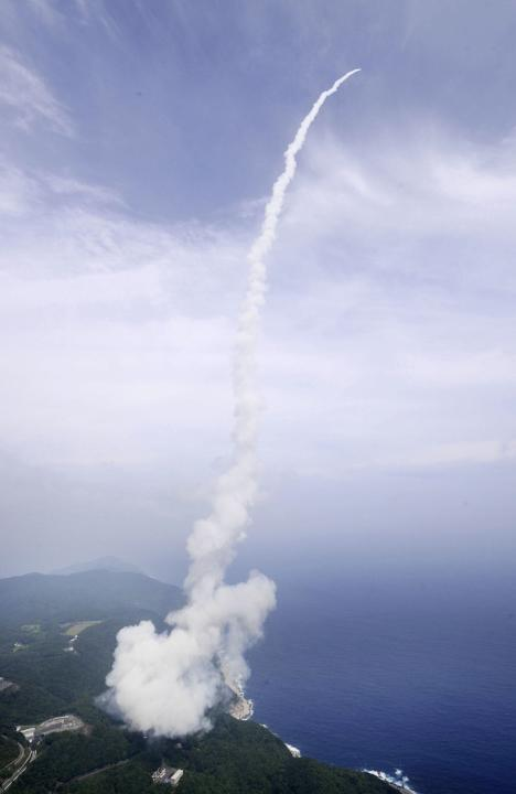An Epsilon rocket blasts off into space from the launching pad at the Uchinoura Space Center in Kimotsuki town, Kagoshima prefecture