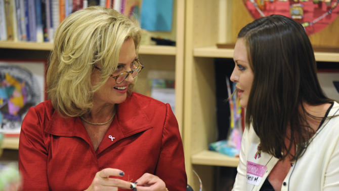Ann Romney, wife of Republican Presidential candidate, former Massachusetts Gov. Mitt Romney, left, speaks with breast cancer survivor Rachell Moodie, 27, of Wesley Chapel, at the Center for Women's Oncology at Moffitt Cancer Center Wednesday, Oct. 10, 2012 in Tampa, Fla. Romney made a stop at Moffitt for a tour of the facility. (AP Photo/The Tampa Tribune, Chris Urso, Pool)