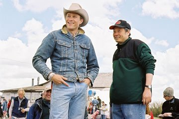 Heath Ledger and director Ang Lee on the set of Focus Features' Brokeback Mountain