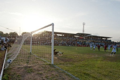 South Sudan scores a penalty against Uganda