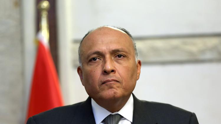Egyptian Foreign Minister Sameh Shoukry listens during a press conference with Iraqi Hussein al-Shahristani, Deputy Prime Minister for Energy in Baghdad, Iraq, Friday, July 11, 2014. Shoukry on Friday arrived for a working visit in the Iraqi capital Baghdad. (AP Photo/Hadi Mizban, Pool)