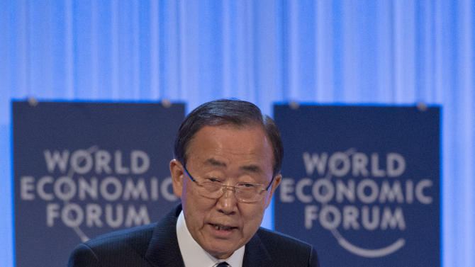 UN Secretary-General, Ban Ki-moon, gestures as he speaks to the assembly of the 43rd Annual Meeting of the World Economic Forum, WEF, in Davos, Switzerland, Thursday, Jan. 24, 2013. (AP Photo/Michel Euler)