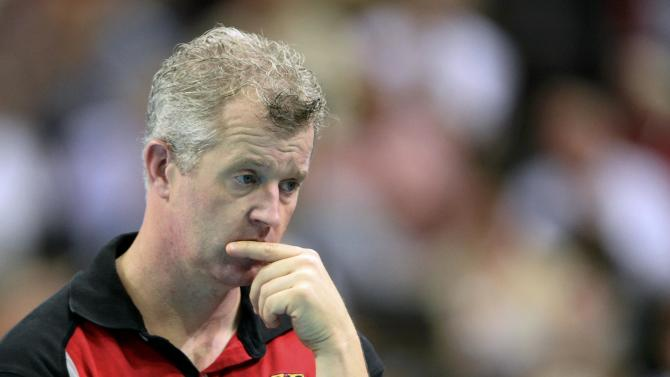 Germany's coach Heynen reacts during their semifinal match against Poland at the FIVB Volleyball Men's World Championship Poland 2014 at Spodek Arena in Katowice