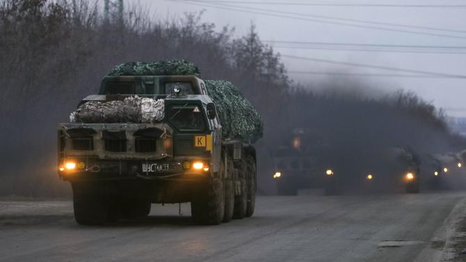Multiple rocket launcher systems belonging to the Ukrainian armed forces are transported near Kramatorsk
