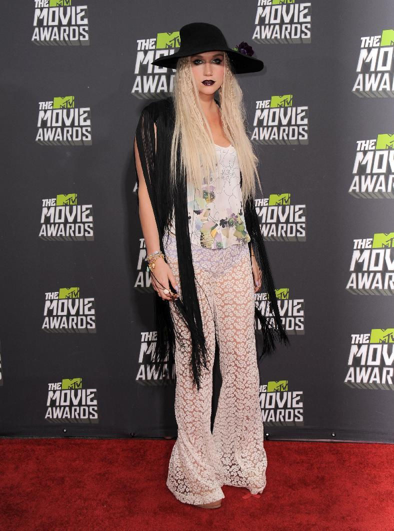 Ke$ha arrives at the MTV Movie Awards in Sony Pictures Studio Lot in Culver City, Calif., on Sunday April 14, 2013. (Photo by Jordan Strauss/Invision/AP)