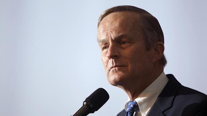 """FILE - This May 17, 2011 file photo shows U.S. Rep. Todd Akin, R-Mo., announcing his candidacy for U.S. Senate, in Creve Coeur, Mo. Akin said in an interview Sunday, Aug. 19, 2012 with St. Louis television station KTVI that pregnancy from rape is """"really rare."""" Akin, who has said he opposes all abortions, said in the interview if a woman is raped, her body """"has ways to shut that whole thing down."""" (AP Photo/Jeff Roberson, file)"""