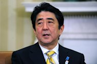 Japan&#39;s new conservative Prime Minister Shinzo Abe speaks following a bilateral meeting with US President Barack Obama in the Oval Office at the White House, on February 22, 2013. Abe carefully avoided disagreements with Obama after previous Japanese governments&#39; rifts and declared: &quot;The alliance between Japan and the United States is back now. It&#39;s completely back.&quot;