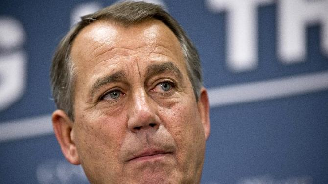 House Speaker John Boehner of Ohio listens during a news conference on Capitol Hill in Washington, Tuesday, March 5, 2013, following a Republican strategy session.  (AP Photo/J. Scott Applewhite)