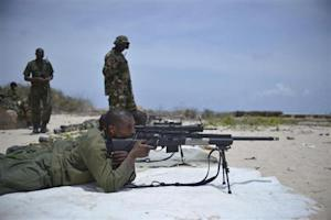 African Union Mission in Somalia soldiers take part in a sniper training course in Mogadishu