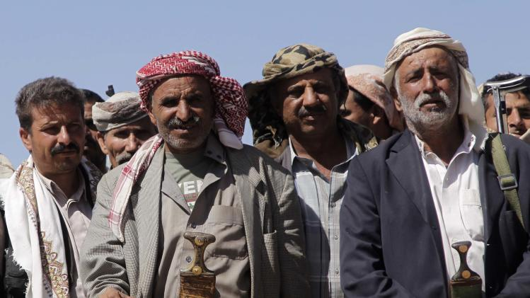 Tribesmen loyal to Shi'ite Houthi group attend tribal gathering to show support to group in Amran province north of Sanaa
