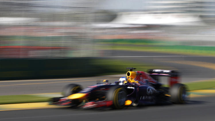 Red Bull Formula One driver Vettel of Germany drives during the second practice session of the Australian F1 Grand Prix in Melbourne
