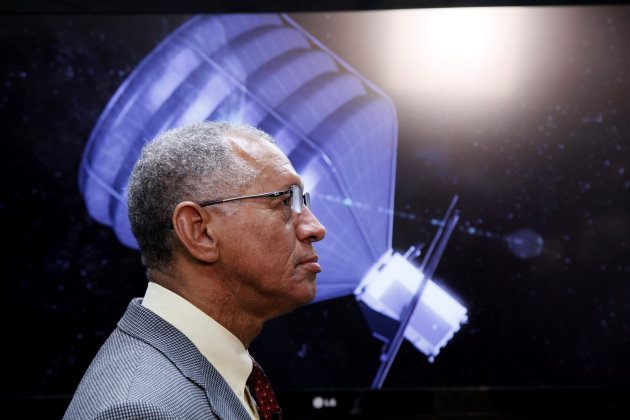 NASA Administrator Charles Bolden visits to the Jet Propulsion Laboratory in Pasadena, Calif., on Thursday, May 23, 2013. Bolden inspected a prototype spacecraft engine that could power an audacious m