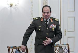 Egyptian Army chief Field Marshal al-Sisi arrives for a meeting with Russian President Putin at Novo-Ogaryovo