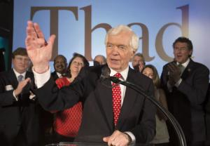 Republican U.S. Senator Thad Cochran addresses supporters during an election night celebration in Jackson, Mississippi