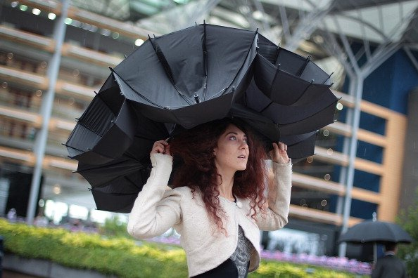 Larisa Katz shows off an umbrella hat design at Royal Ascot on Ladies Day on June 21, 2012 in Ascot, England. Ladies Day is traditionally the fashion highlight of the five day race meeting. (Photo by