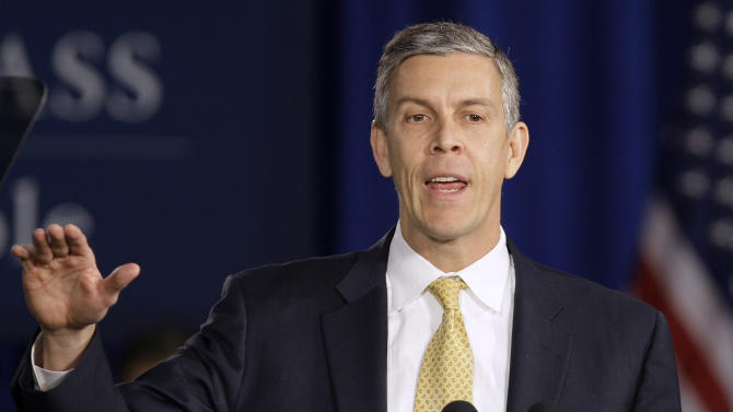 FILE - In this Jan. 12, 2012 file photo, Education Secretary Arne Duncan speaks at Lincoln High School in Gahanna, Ohio. School for thousands of public school students is about to get quite a bit longer. Five states announced Monday, Dec. 3, 2012, they will add at least 300 hours of learning time to the calendar in some schools starting in 2013. (AP Photo/Jay LaPrete, File)