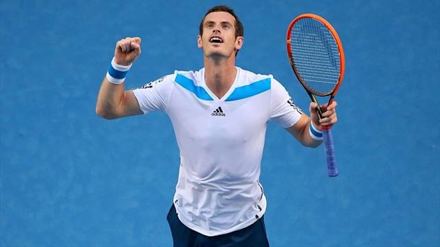 Andy Murray of Great Britain celebrates winning his first round match against Go Soeda (Getty Images)