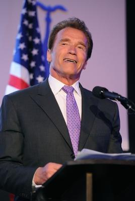 Arnold Schwarzenegger accepts an award at Skirball Cultural Center in Los Angeles on May 10, 2011  -- Getty Images