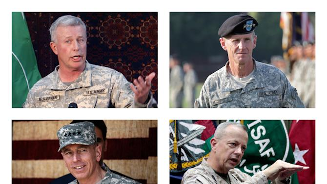 This combination of file photos from 2008-2012 shows, top row from left, Gens. David McKiernan, Stanley A. McChrystal, bottom row from left, David Petraeus and John Allen in Afghanistan. The four U.S. generals led U.S. and NATO forces in Afghanistan since 2008. (AP Photo)