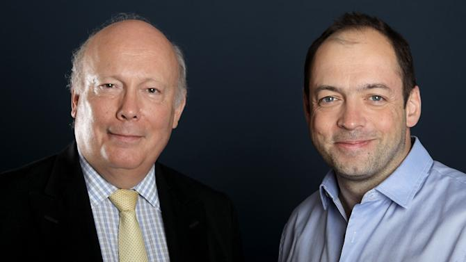 """Writer and producer Julian Fellowes, left, and producer Gareth Neame, from """"Downton Abbey"""", pose for a portrait during the PBS TCA Press Tour on Saturday, July 21, 2012, in Beverly Hills, Calif. (Photo by Matt Sayles/Invision/AP)"""