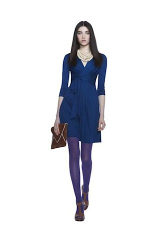 Royal Blue 3/4-Sleeve Wrap-Tie Dress, $130.00.