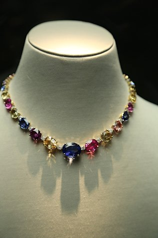 A Bulgari necklace on display at the Rodeo Drive Walk of Style Awards honoring Bulgari on December 5, 2102.