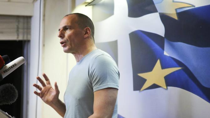 Greek Finance Minister Varoufakis makes a statement in Athens