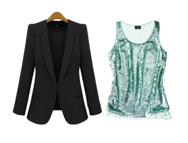 Swap your standard (boring!) shell with a sequined tank underneath your favorite blazer. This step towards festivity starts in the morning, carries you through your office holiday party, and right int