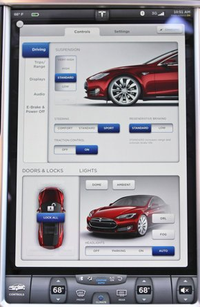The massive touch-screen in the Model S.