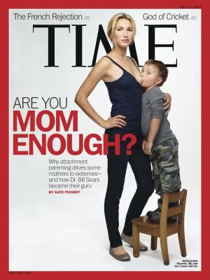 "This image provided by Time magazine shows the cover of the May 21, 2012 issue with a photograph of Jamie Lynne Grumet, 26, breastfeeding her 3-year-old son for a story on ""attachment parenting."" Grumet, a stay-at-home mom in Los Angeles who says her mother breastfed her until she was 6 years old, told the magazine in an interview that she's given up reasoning with strangers who see her son nursing and threaten ""to call social services on me or that it's child molestation."" About three-quarters of U.S. mothers say they breast-feed during their baby's first days and weeks of life. Then it drops off fast. But by 2020, the nation's health goals call for more than a quarter of babies to be exclusively breast-fed through their first six months of life, and for more than a third to still be nursing when they turn 1 year old. (AP Photo/Time)"