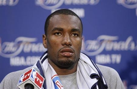 Oklahoma Thunder's Ibaka speaks to the media before practice for Game 3 of the NBA basketball finals in Miami
