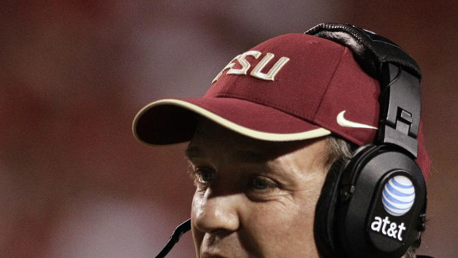 Florida State head coach Jimbo Fisher directs his team during the first half of an NCAA college football game against North Carolina State in Raleigh, N.C., Saturday, Oct. 6, 2012. (AP Photo/Gerry Broome)