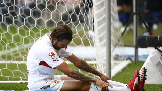 VFB Stuttgart's Harnik reacts after a missed opportunity against SC Paderborn during their German Bundesliga match in Paderborn