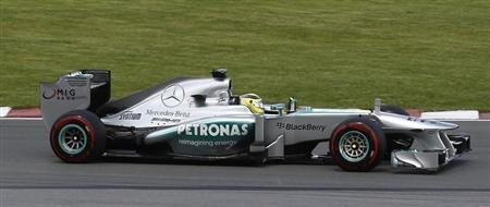 Mercedes Formula One driver Rosberg of Germany drives during Canadian F1 Grand Prix at Circuit Gilles Villeneuve in Montreal