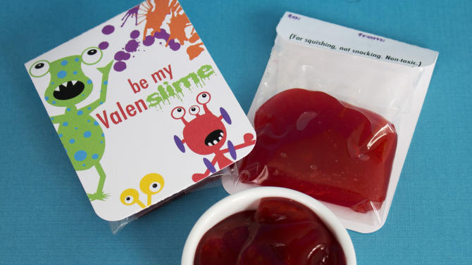 "This Jan. 17, 2013 photo shows a handmade Valentine's Day card appropriate for young boys who may find the usual hearts and flowers too lovey-dovey, in Concord, N.H. Made with just two ingredients, Metamucil and water, this homemade ""slime"" is a fun, non-toxic alternative to candy. (AP Photo/Holly Ramer)"