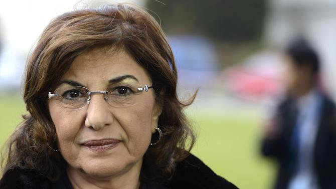 Bouthaina Shaaban, advisor to Syrian President Bashar Assad, briefs the media, at the European headquarters of the United Nations, in Geneva, Switzerland, Wednesday, Jan. 29, 2014. Shaaban spoke after a meeting between government and opposition delegates with the U.N.-Arab League mediator Lakhdar Brahimi. (AP Photo/Keystone, Martial Trezzini)