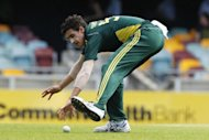 Australia's bowler Mitchell Starc fields a ball against Sri Lanka in a one-day international in 2010. Australia have called up left-arm quick Starc into their squad for Tuesday's fifth and final one-day international against England at Old Trafford, it was announced Sunday