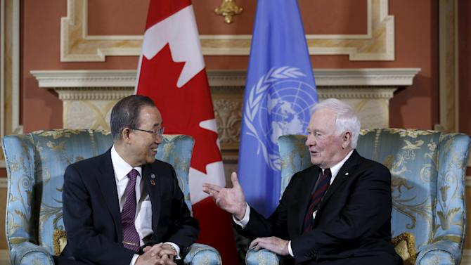 Canada's Governor General David Johnston speaks with United Nations Secretary-General Ban Ki-moon during a meeting at Rideau Hall in Ottawa