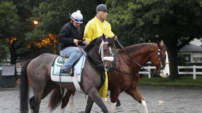 Preakness winner Oxbow, left, is guided by trainer D. Wayne Lukas, right, to his barn at Belmont Park following a morning workout Friday, June 7, 2013 in Elmont, N.Y. Oxbow is entered in Saturday's Belmont Stakes horse race. (AP Photo/Mark Lennihan)