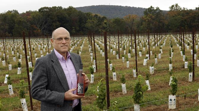 "In this Monday, Oct. 8, 2012 photo, Chris Charron, one of three owners of the 868 Estate Vineyards, poses for a portrait on the winery grounds in Purcellville, Va. Charron, who says he is an Independent, is leaning Republican. He likes Romney's run-government-like-a-business approach, though he's less impressed with the candidate. ""There's a certain charisma you have to have,""he says, ""And I don't think he's got it."" (AP Photo/Jacquelyn Martin)"