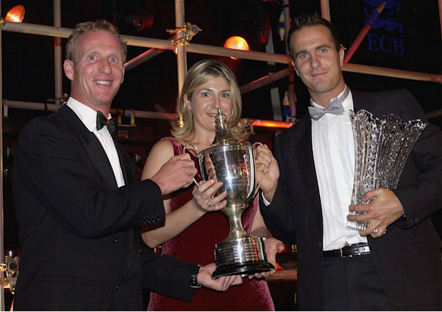 Michael Vaughan of Yorkshire (R) receives the PCA Player of the Year award