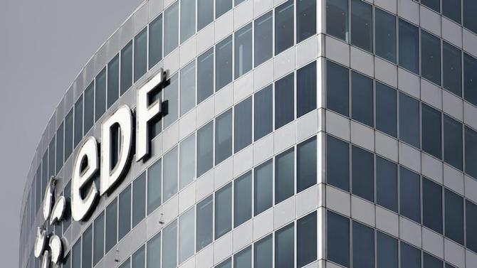The logo of Electricite de France (EDF) is seen on a building in the financial district of La Defense, near Paris