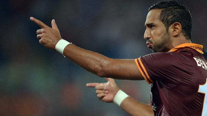 AS Roma's French defender Al Mouttaqui Mehdi Amine Benatia celebrating after scoring on August 26, 2014