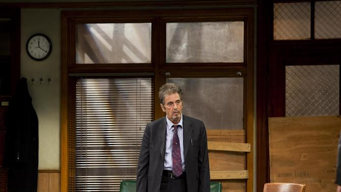 """This undated publicity photo released by Jeffrey Richards Associates shows Al Pacino in a scene from """"Glengarry Glen Ross"""" at the Gerald Schoenfeld Theatre in New York. (AP Photo/Jeffrey Richards Associates)"""