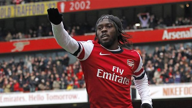 Arsenal's Ivorian striker Gervinho celebrates (AFP)